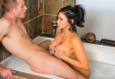 Audrey Bitoni:Bad Girl, Nanny, Bathtub, Bed, Bedroom, American, Ass licking, Ass smacking, Big Dick, Big Fake Tits, Big Tits, Black Hair, Blow Job, Bubble Butt, Cum in Mouth, Deepthroating, Facial, Fake Tits, Innie Pussy, Medium Ass, Shaved