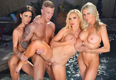 Emma Starr, Jessica Jaymes & Nikki Benz:Bad Girl, Stranger, Outdoors, Patio, American, Ass smacking, Athletic Body, Big Dick, Big Fake Tits, Big Tits, Black Hair, Blonde, Blow Job, Blue Eyes, Brown Eyes, Brunette, Caucasian, Cum in Mouth, Fake Tits, Group Sex, Piercings, Shaved, Swallowing, Tattoos, Trimmed