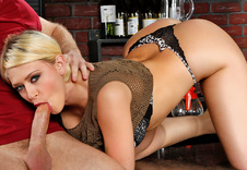 Kagney Linn Karter:Bartender, Bar, Bar stool, Chair, Floor, American, Big Dick, Big Fake Tits, Big Tits, Blonde, Blow Job, Caucasian, Cum in Mouth, Fake Tits, Shaved, Swallowing