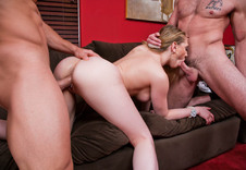 Kagney Linn Karter:Dad\'s Girlfriend, Friend, Couch, Living room, Ass smacking, Big Ass, Big Tits, Blonde, Blow Job, Deepthroating, Dominant, Facial, Fake Tits, High Heels, Piercings, Shaved, Threesome BBG