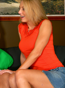 Mrs. James:Friend\'s Mom, MILF, Couch, Living room, Big Tits, Blonde, Blow Job, Facial, Fake Tits, Mature, MILFs, Shaved