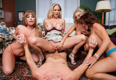Darla Crane, Deauxma, Holly Halston & Julia Ann:Friend\'s Mom, Girlfriend\'s Mom, MILF, Couch, Living room, Ass smacking, Big Tits, Blonde, Blow Job, Brunette, Deepthroating, Fake Tits, Four or more, Group Sex, MILFs, Piercings, POV, Shaved, Tattoos, Titty Fucking