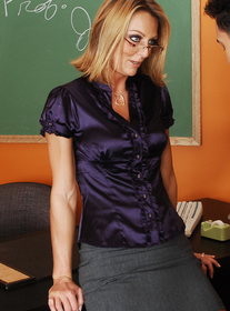 Brenda James:MILF, Professor, Student, Classroom, Desk, Big Fake Tits, Blonde, Glasses, MILFs, Shaved