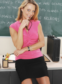 Brenda James 2 (ANAL):MILF, Professor, Student, Classroom, Desk, Anal, Big Fake Tits, Blonde, Glasses, MILFs, Shaved