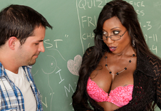 Diamond Jackson:Professor, Teacher, Classroom, Desk, Ball licking, Big Tits, Black, Black Hair, Blow Job, Cum on Glasses, Deepthroating, Facial, Fake Tits, Glasses, High Heels, Interracial, Piercings, Shaved, Stockings