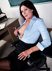 Magdalene St. Michaels:Professor, Chair, Classroom, Desk, Big Tits, Brunette, Facial, Fake Tits, Mature, MILFs, Shaved, Stockings