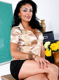 Persia Pele:Professor, Teacher, Classroom, Desk, Big Tits, Black Hair, Blow Job, Facial, Fake Tits, High Heels, Latina, Mature, MILFs, Tattoos