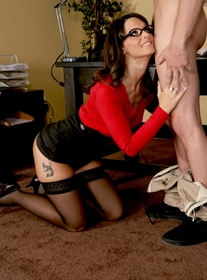 Syren De Mer:MILF, Professor, Student, Desk, Brunette, Glasses, Small Tits, Stockings