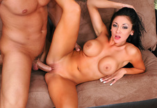 Audrey Bitoni:Sister\'s Friend, Couch, Living room, American, Ball licking, Big Fake Tits, Big Tits, Blow Job, Brown Eyes, Brunette, Bubble Butt, Caucasian, Cum in Mouth, Deepthroating, Medium Ass, Outie Pussy, Petite, Shaved