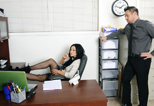 Audrey Bitoni:Co-worker, Desk, Floor, Office, Ass licking, Average Body, Big Fake Tits, Blow Job, Brown Eyes, Brunette, Cum in Mouth, Cum on Tits, Innie Pussy, Medium Ass, Petite, Shaved, Stockings