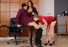 Darla Crane & Syren De Mer:Boss, Co-worker, Chair, Desk, Office, American, Big Dick, Big Fake Tits, Big Tits, Blow Job, Caucasian, Cum in Mouth, Cum Swapping, Fake Tits, Glasses, Innie Pussy, Mature, Medium Ass, Red Head, Stockings, Tattoos, Threesome, Threesome BGG, Trimmed