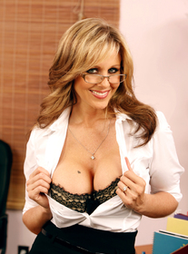 Julia Ann:Boss, Janitor, Married Woman, Desk, Office, Big Fake Tits, Blonde, Glasses, MILFs, Shaved, Stockings, Tattoos