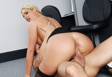Phoenix Marie:Boss\'s Daughter, Chair, Desk, Floor, Office, Big Ass, Big Fake Tits, Blonde, Shaved, Stockings, Tattoos