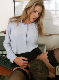 Roxanne Hall:Co-worker, Desk, Office, Big Tits, Blonde, Blow Job, Facial, Foreign Accent, High Heels, Natural Tits, Petite, Shaved, Stockings