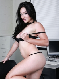 Roxy Jezel:Stranger, Chair, Desk, Office, Asian, Brunette, Petite, Shaved, Small Tits, Tattoos