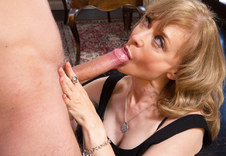 Nina Hartley - Nina Hartley in Seduced by a Cougar: Cougar, Floor, Living room, Table, Ass smacking, Ball licking, Big Ass, Blonde, Blow Job, Blue Eyes, Cum in Mouth, Fake Tits, Hand Job, Mature, Medium Fake Tits, Outie Pussy, Stockings, Swallowing, Trimmed