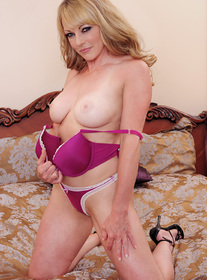 Shayla LaVeaux:Cougar, Trainer, Bed, Bedroom, Ball licking, Blonde, Blow Job, Blue Eyes, Caucasian, Cum on Tits, Deepthroating, Hand Job, High Heels, Mature, Medium Ass, Medium Fake Tits, Trimmed