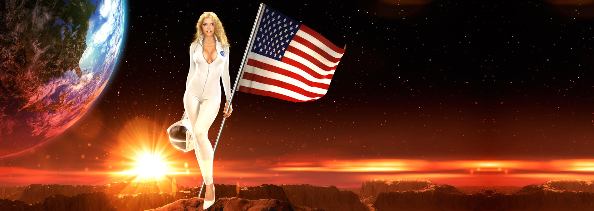 Splash image of a sexy blonde holding the American flag
