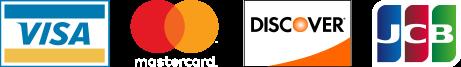 Visa, MasterCard, Discover, and JCB logos