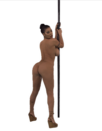 August Taylor dancing on the pole shaking her tits and ass Hologram