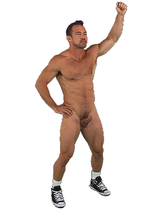 Johnny Castle standing naked thrusting his hips Hologram