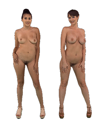 Emily Addison and Stephanie West standing naked sawying thier hips Hologram thumbnail #5